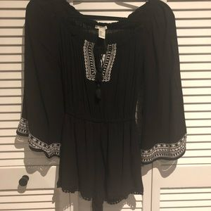 NWT Black Embroidered Romper